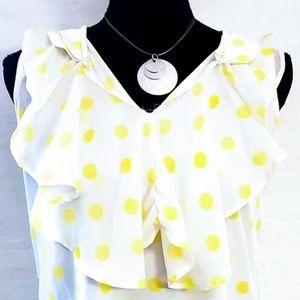 Yellow Polka Dot White Sleeveless Blouse